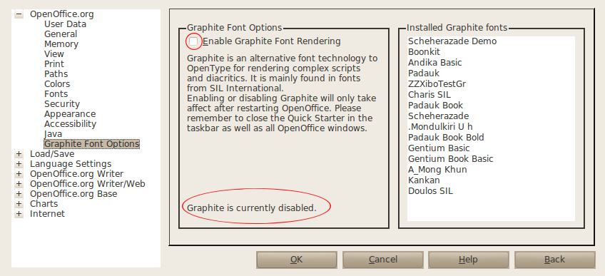 Graphite OpenOffice: Graphite Font Extension for OpenOffice org